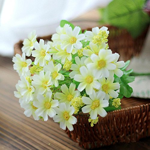 Artificial Silk Fake Flowers Small Daisy Wedding Bouquet Party Home Decor By Orangeskycn (White)