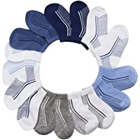 BARE HUGS Infant Boys All Weather No Show Socks - 10 Pack - 6-12 and 12-24 Months