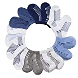 BARE HUGS Infant Boys 10 Pk All Weather Athletic Socks Grey/Light Blue/Dark Blue 6-12 Mos