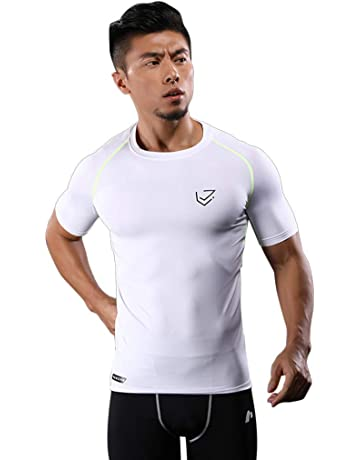 ROLYPOBI Workout Training TanksMens Compression Tops Athletic Running Training Gym T-Shirts Dri fit Base