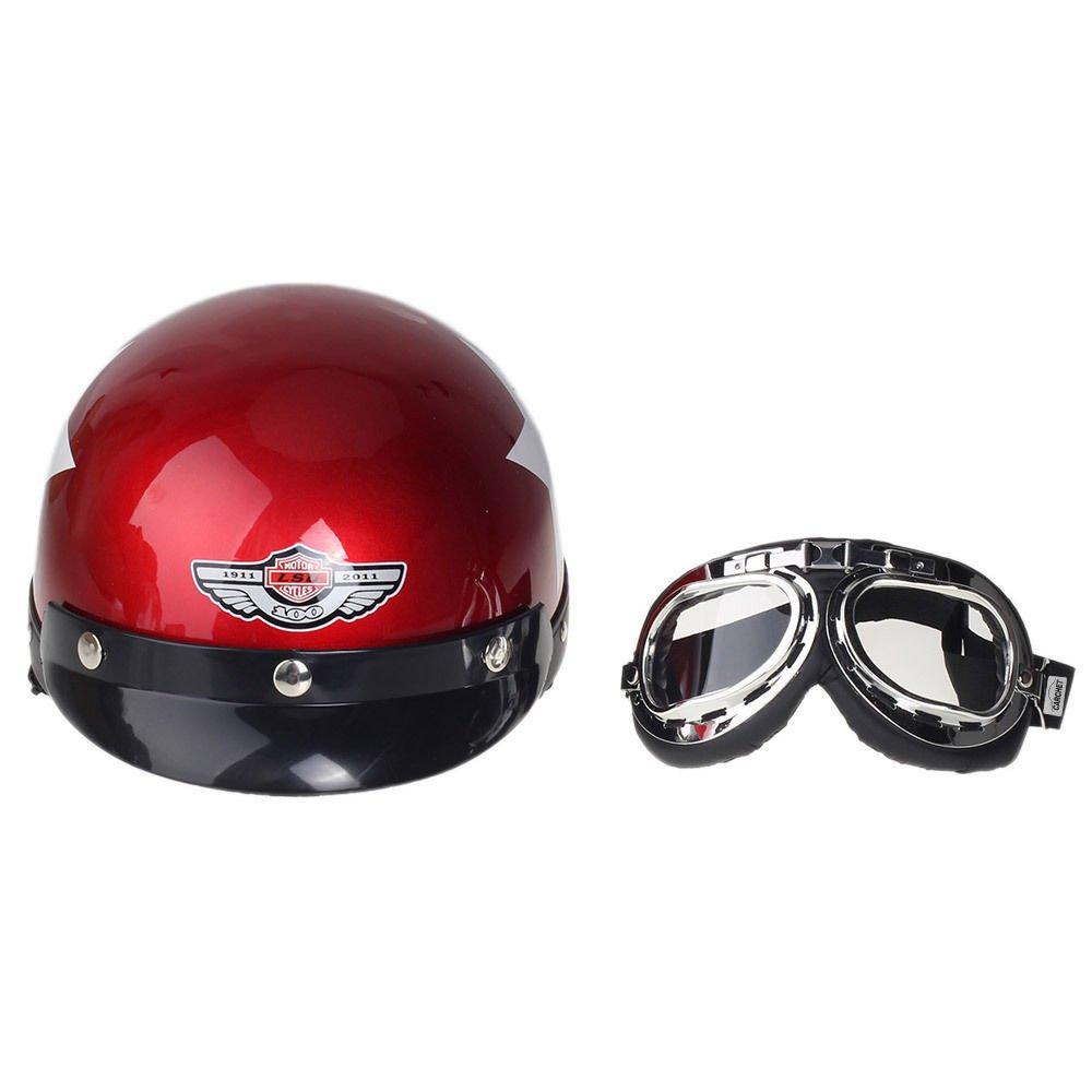 Shsyue/® Casco Retro Casco Protector de Seguridad para Motocicletas con Gafas de Visera Patr/ón de Estrellas Rojo