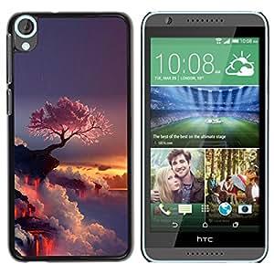 Caucho caso de Shell duro de la cubierta de accesorios de protección BY RAYDREAMMM - HTC Desire 820 - Púrpura Árbol japonés
