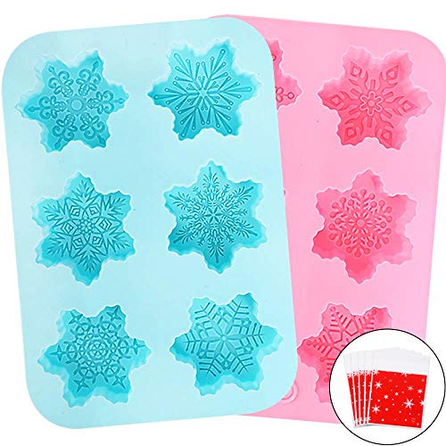 Holicolor Silicone Soap Mold - 2 Snowflake Cake Soap Handmade Christmas Biscuit, Chocolate, Ice Cube Mold for DIY Homemade Craft Cake