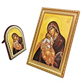 FengMicon Orthodox Icons Theotokos Mother Mary and Baby Christ Greek Orthodox Church Catholic Religious Icon Set