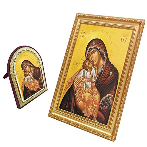 FengMicon Orthodox Icons Theotokos Mother Mary and Baby Christ Greek Orthodox Church Catholic Religious Icon Set - Greek Religious Art
