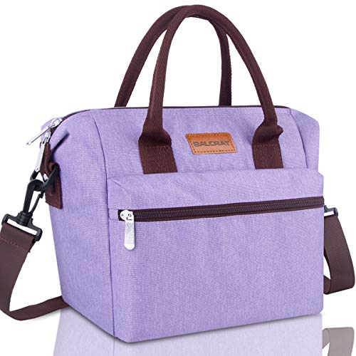 BALORAY Lunch Bag for Women Insulated Lunch Box with Adjustable Shoulder Strap,Water-Resistant Leakproof Cooler Lunch Tote Bag for Work/Picnic (G-206 Purple) ()