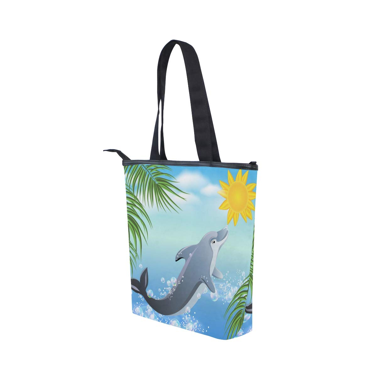 Shark Lady Handbag Tote Bag Zipper Shoulder Bag for Shopping Travel