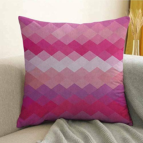 (Hot Pink Bedding Soft Pillowcase Classical Simple Modern Design with Vibrant Colored Diamond Line Pattern Hypoallergenic Pillowcase W20 x L20 Inch Pink Peach Fuchsia)