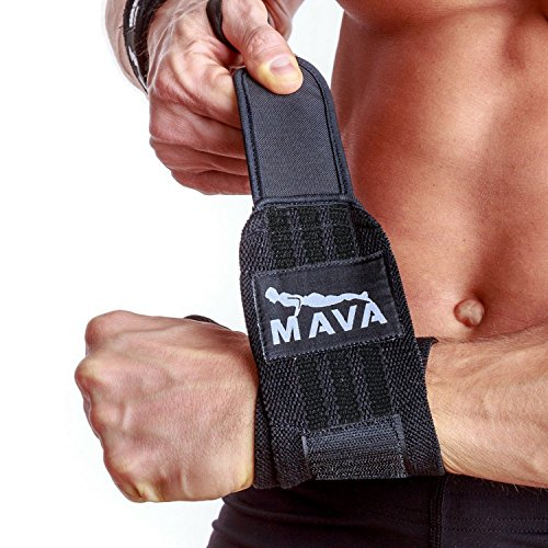 Black Leather Wrapped Snap (Mava Sports Wrist Wraps, 14
