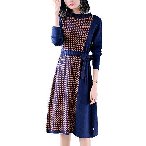 Fino Pullove Jersey Manga Larga Punto Blue Temperamento De Knit Vestido Gallo Cable Ajustado Pata TqS8vw6