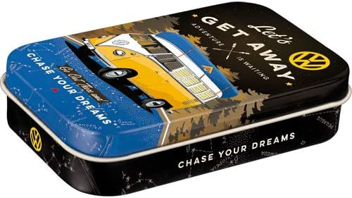 Metall Nostalgic-Art 82117 Vw Bulli Pillen-Dose Xl Bonbon-Box Lets Get Away Night Mit Pfefferminz-Dragees