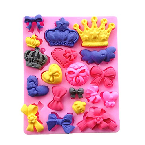 Yunko Bows Queen Crown Heart Candy Mold Silicone Chocolate Fondant Mold Cake (Diy Queen Of Hearts Crown)