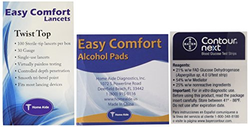 Bayer Contour Next Test Strips 100 Count, 100 Lancets and 100 Alcohol Pads