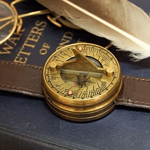 Brass Sundial Wristwatch (Sundial Time Father)