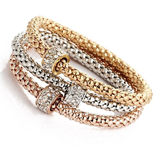 - Funic 3pcs Charming Womens Bracelet Gold/Silver/Rose Gold Rhinestone Bangle Jewelry Set (C)
