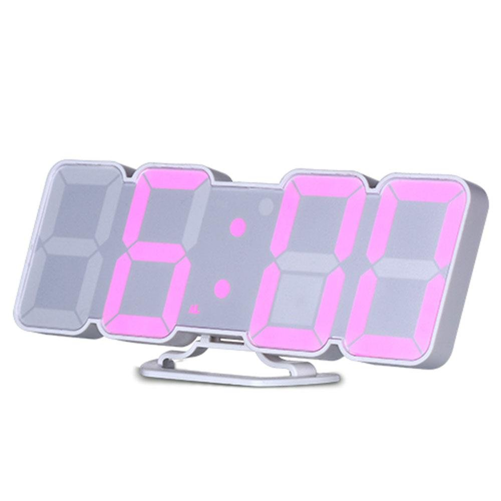 Aolvo LED Digital Clock, Remote Control Voice Control 3D LED Digital Alarm Clock Display Time Date Temperature in 115 Colors for Desktop Wall Clock Home Decoration