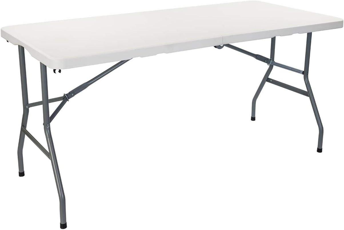 Mesa Catering Plegable Rectangular Portatil Blanca de 150 cm ...