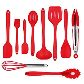 iLOME Silicone Spatula Utensil Set Heat-Resistant Non-Stick Cooking Baking Utensils with Hygienic Solid Coating Spatula Set 10 Pieces(Red) 56 ❤On SALE 46%off ❤QUANTITY -10 PIECES SETS- 10Piece Silicone Utensil Set is Kitchen helper, perfect for all types of foods and cooking&kitchen accessaries,Stir fry,stirring cream,butter,ice cream,etc.Bake,Make a cake,and so on...include spatula ,basting brush ,pointed spatula ,round-edge turner ,ladle ,straight-edge turner ,Spoon,tongs ,wisk ,pasta fork.Don't hesitake to make a Party Delicious feast or daily food.HAVE FUN DINNER TIME. ❤HIGH HEAT 550°F PRO-GRADE SILICONE - Our BPA Free and FDA Approved Silicone is Safe for Coated & Non-stick Cookware and perfect for use with hot foods and around the cook top. ❤CLEAN WELL NON STICK - With a strong nylon core, ergonomically designed handles and the perfectly shaped heads, now there are silicone utensils for every job. And premium non-stick silicone is literally the easiest substance to clean. Simply wipe under hot water or throw them in the dishwasher.