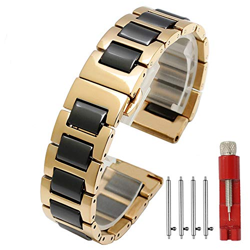 - Ceramic Watch Band Replacement Stainless Steel Watch Bracelet Deployment Clasp Metal Watch Strap for Men Women 16mm/18mm/20mm/22mm (20mm, Gold+Black)