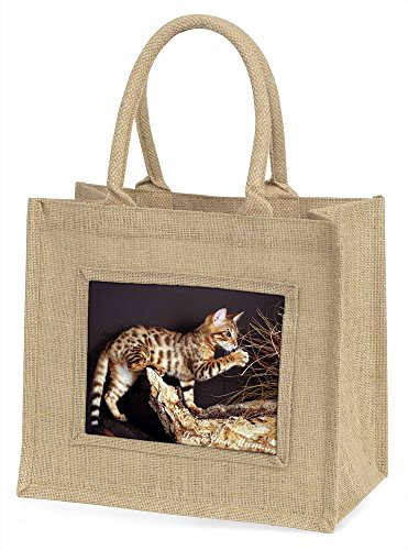 Advanta Bengal Kätzchen, Love You Mum Große Einkaufstasche Weihnachten Geschenk Idee, Jute, beige/natur, 42x 34,5x 2cm