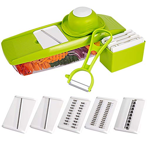 Waffle Cutter - Mandoline Slicer Spiralizer Vegetable Slicer - Empino Veggie Slicer Mandoline Food Slicer with Julienne Grater - Mandoline Cutter - Vegetable Cutter Food Chopper - Vegetable Spiralizer with Peeler