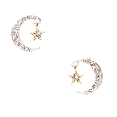 ddb4b015e Image Unavailable. Image not available for. Color: Icing Women's Crystal  Studded Moon & Star Stud Earrings