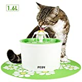 Pedy Cat Water Fountain, Automatic Cat Flower Water Fountain, Pet Water Fountain for Cats and Dogs with Filter & Silicone Mat, Green (1.6L)