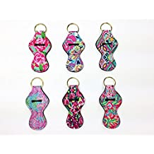 NEOPRENE KEYCHAIN CHAPSTICK HOLDER with gold key ring, six vibrant prints, novelty keychain