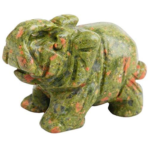 SUNYIK Unakite Elephant Pocket Carving Bookend Amulet Figurine Decor 2
