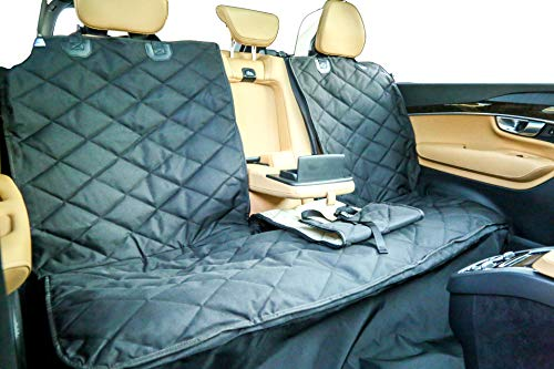 Plush Paws Custom Dog Seat Cover Center Console Access, Removable Hammock - Waterproof & Nonslip Silicone Backing for Cars, Trucks & SUV (Regular, Black)
