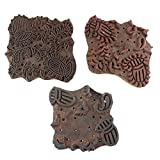 IndianShelf Set of 3 Piece Brown Wooden Canvas Paper Printing Stamp Textile Handmade Fabric Block
