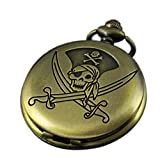 VIGOROSO Pirate Vintage Retro Bronze Steampunk Pocket Watch Pendant Necklace Gifts