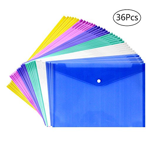 YGEOMER 36pcs Transparent Poly Envelope with Snap Button Closure, Waterproof Project Envelope Folder, A4 Letter Size, 6 Assorted Colors Button Closure Poly Envelope