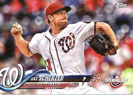 736f1b487 Amazon.com  Baseball MLB 2018 Topps Opening Day  112 Max Scherzer ...