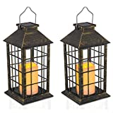 14'' Set of 2 Outdoor Solar Candle Lantern Flickering Flameless LED Candle/Plastic Hanging Solar Garden Light/Decorative Lantern For Patio Pathway Deck Christmas Halloween Garden Decor Yodotek