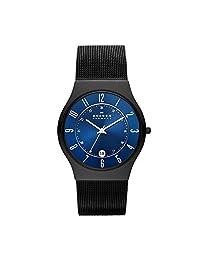 Skagen Men's T233XLTMN Royal Blue Dial And Black Signature Skagen Band Watch