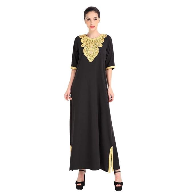 Amazon.com: Rucan Islamic Clothing Embroidery Women Jalabiya Muslim ...