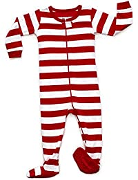 Baby Boys Girls Christmas Striped Footed Pajama Sleeper 100% Cotton (Size 6 Months-5 Toddler)