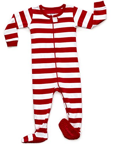 Striped Footed Pajama Sleeper 100% Cotton (2 Years, White & Red)