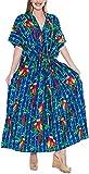 LA LEELA Likre Printed Long Caftan Dress Women Royal Blue_711 OSFM 14-22W [L-3X]