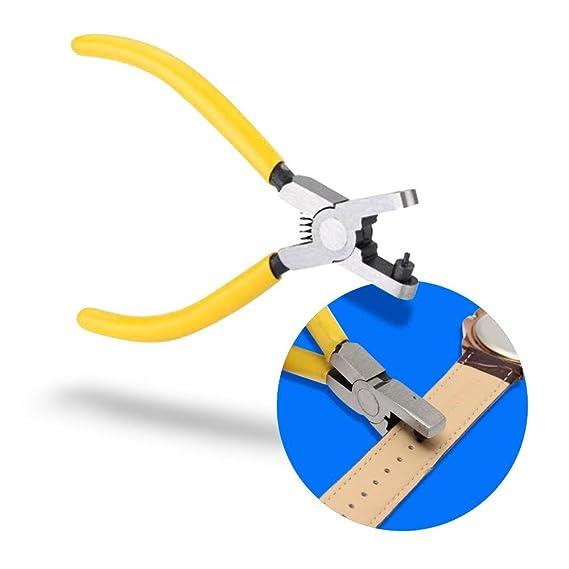 MMOBIEL Pinzas perforadoras para agujerar Correas de Reloj, de Piel, cintos, con Agarre de vinil Amarillo para sujección Segura.: Amazon.es: Relojes