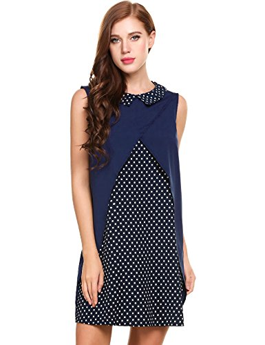 Casual Swing Chiffon Blue Women's Navy Sleeveless Loose Retro ACEVOG Dress Patchwork X6YAqw