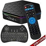 WISEWO Smart TV Box Android 7.1 Nougat Media Box Octa Core CPU 2GB RAM 16GB ROM Set Top Box Mini PC Support 4K2K 3D BT 4.0 Dual Wifi with Wireless Mini Keyboard