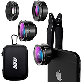 DOFLY Universal Professional HD Camera Lens Kit for iPhone 7Plus/7/6sPlus/6s, Samsung S8+/S8 and other Cellphones (230 Degree Fisheye Lens, 0.65X Super Wide Angle Lens, 15X Super Macro Lens)- Black