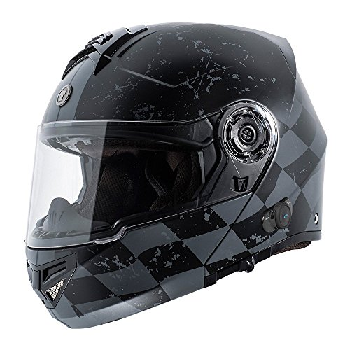 TORC Unisex-Adult Full-face Style TB27 Modular Helmet with Integrated Blinc Bluetooth (Checker) (Flat Black, Medium