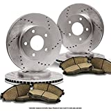 (Front+Rear Kit)(Heavy Tough-Series) 4 Cross-Drilled Disc Brake Rotors + 8 Ceramic Pads(H3 H3T)(6lug)