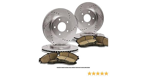 FRONT+REAR SET Z0726 Performance Cross Drilled Brake Rotors /& Ceramic Pads