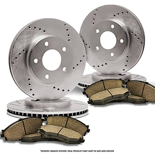 (Front+Rear Kit)(Heavy Tough-Series) 4 Cross-Drilled Disc Brake Rotors + 8 Ceramic Pads(Fits:- Chrysler Dodge)(5lug) (Chrysler Town Country Cross)