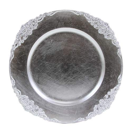 Koyal Wholesale Vintage Charger Plate, Silver (Pack of 4) 424659