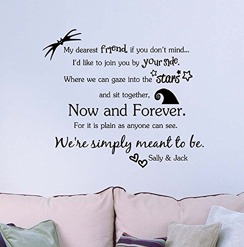 My dearest friend if you don't mind now and forever We're simply meant to be Jack and Sally. Vinyl Wall Decor Quotes Sayings inspirational lettering movie sticker stencil wall art (Words Created From The Word Halloween)